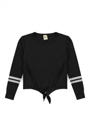 blusa juvenil piradinhos preto menina inverno