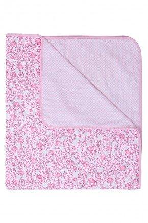 cobertor rosa flor bebe piradinhos