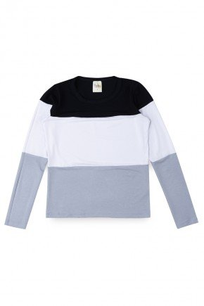blusa manga longa juvenil preta trin piradinhos