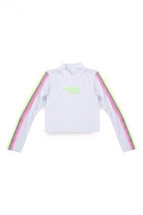 blusa manga longa juvenil branco listras ziper