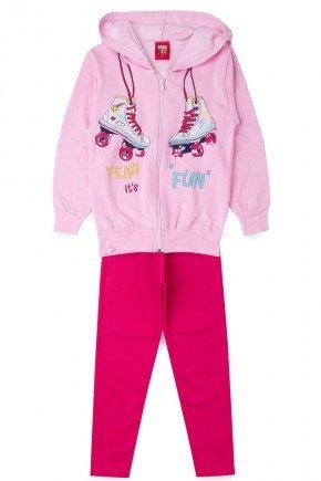 conjunto lilas rosa piradinhos infantil menina inverno pink patins