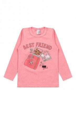 blusa rosa best friend gato camera foto meia malha piradinhos algodao infantil inverno