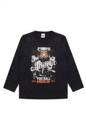 camiseta preto leao athletic menino manga longa inverno meia malha algodao piradinhos