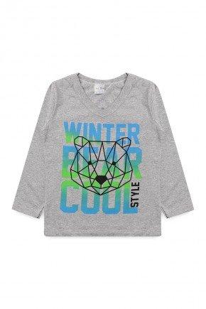camiseta meia malha algodao inverno manga longa menino piradinhos lobo mescla