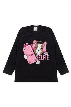 blusa feminina preto piradinhos menina infantil cachorro selfie celular inverno