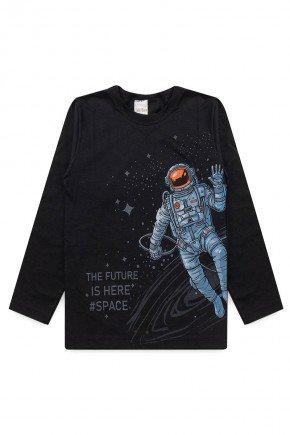 camiseta meia malha manga longa piradinhos preto astronauta