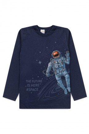 camiseta meia malha manga longa piradinhos marinho astronauta