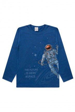 camiseta meia malha manga longa piradinhos azul astronauta