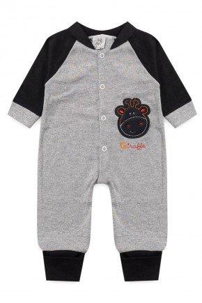macacao bebe infantil manga longa algodao piradinhos sophi inverno preto bordado