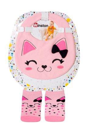 babador meia rosa gato piadinhos infantil bebe rosa menina